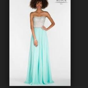 Alyce 6690 strapless gown in seabreeze